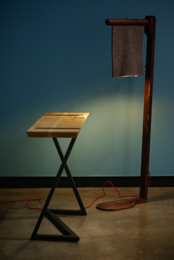 "Felt lamp on display at ""Sweat of Our Brow"" design exhibition."